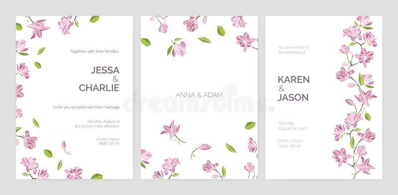 Set piękni przyjęcia weselnego zaproszenia szablony dekorujący z różową kwitnącą magnolią kwitnie Plik karty z ilustracja wektor