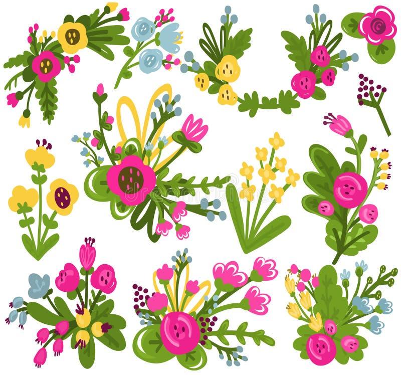 Set piękni wektorowi kwiaty zdjęcie royalty free