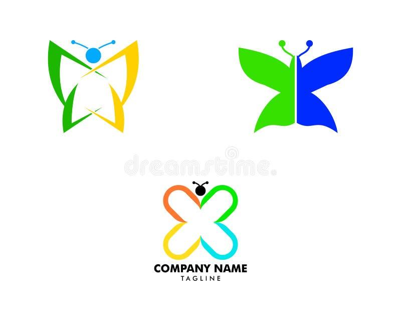 Set piękno logo Motyliego szablonu ikony Wektorowy projekt royalty ilustracja