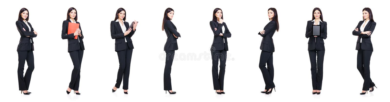 Set piękny, atrakcyjny bizneswoman odizolowywający na bielu, obraz stock