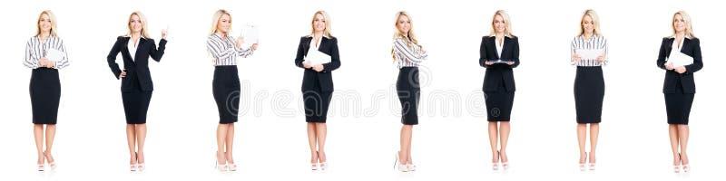 Set piękny, atrakcyjny bizneswoman odizolowywający na bielu, zdjęcia royalty free