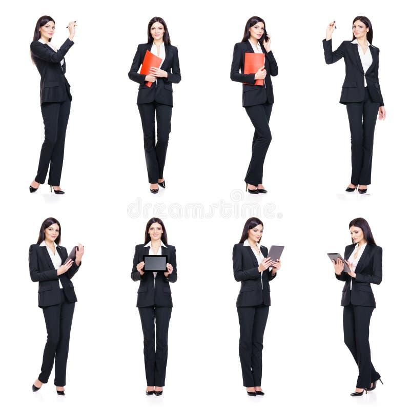 Set piękny, atrakcyjny bizneswoman odizolowywający na bielu, fotografia stock
