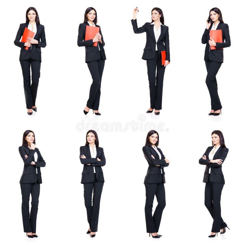 Set piękny, atrakcyjny bizneswoman odizolowywający na bielu, fotografia royalty free