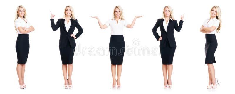 Set piękny, atrakcyjny bizneswoman odizolowywający na bielu, Biznes, kariera sukcesu pojęcie fotografia royalty free