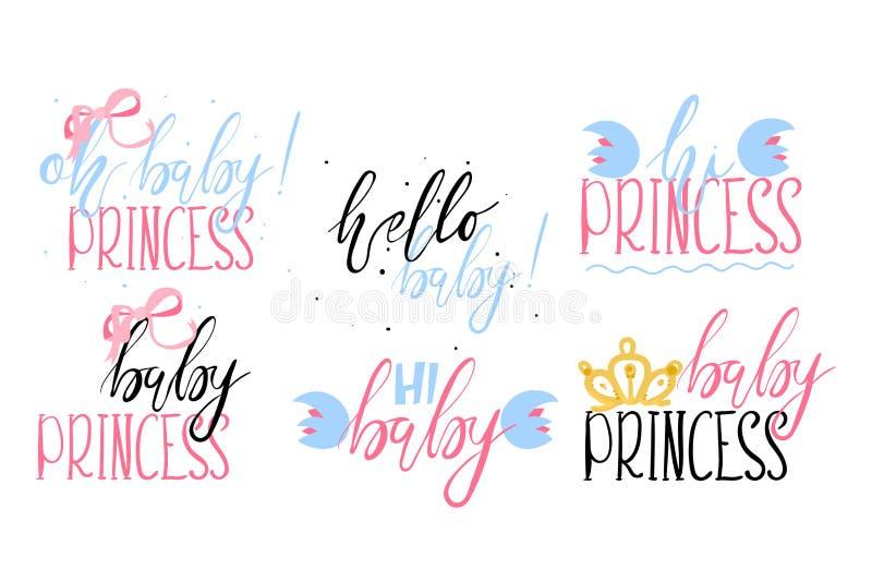 Set piękny literowanie, ręka malował z szczotkarskimi bages - Oh dziecka princess ilustracji