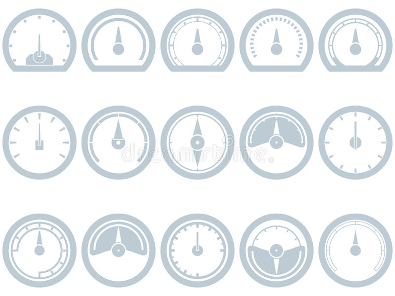 Set piętnaście mieszkanie, prosty, szybkościomierz stylowe ikony ilustracji
