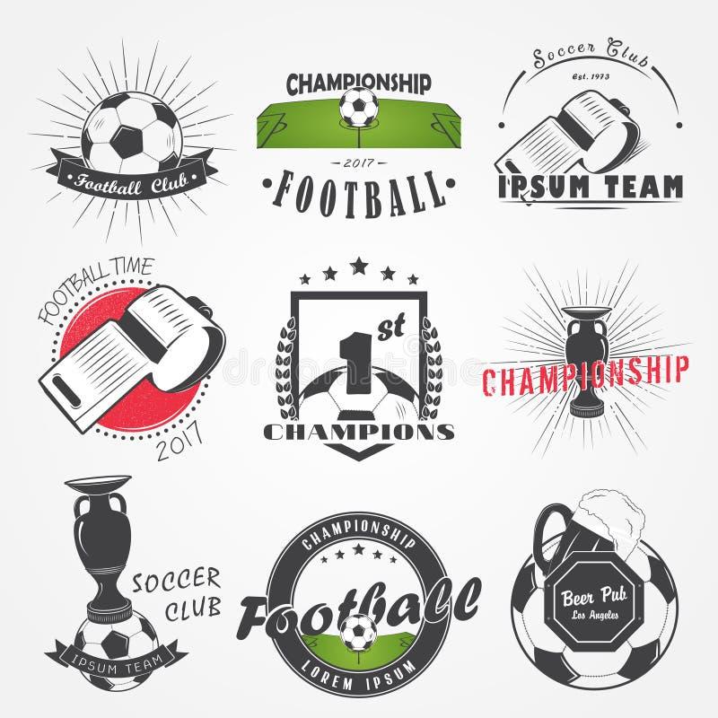 Set piłka nożna futbolu klub Sport drużyna Szczegółowi elementy Stary retro rocznika grunge royalty ilustracja