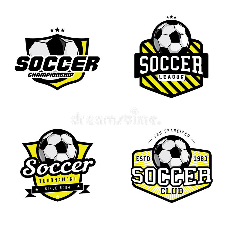 Set piłka nożna liga odznaki royalty ilustracja