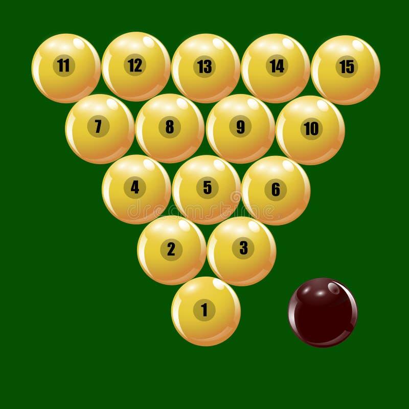 Set piłki bawić się Rosyjskich billiards ilustracyjnych royalty ilustracja