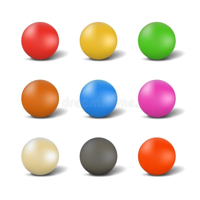 Set piłki dla bawić się snooker, wektorowa ilustracja royalty ilustracja