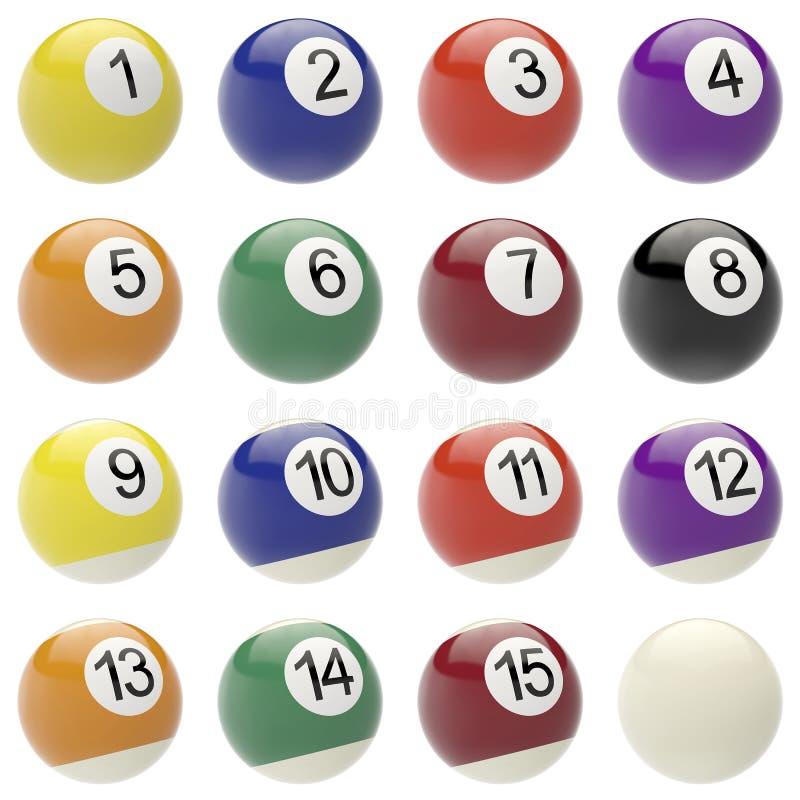 Set piłki dla billiards ilustracja wektor
