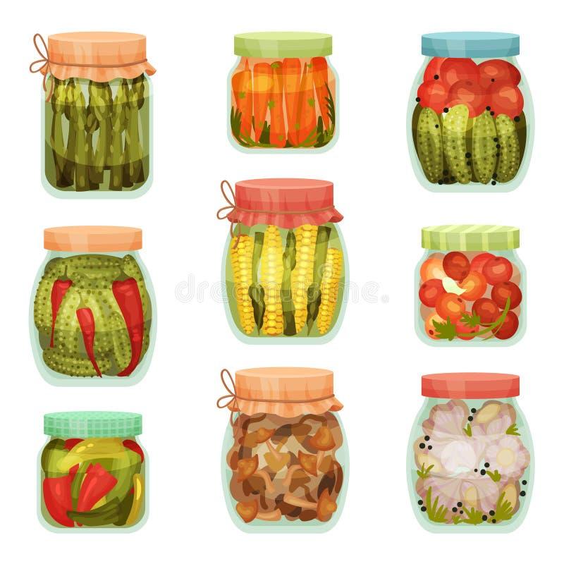 Set of pickles in jars. Vector illustration on white background. Set of pickles in jars. Asparagus, tomato, cucumber, corn, garlic. Vector illustration on white stock illustration