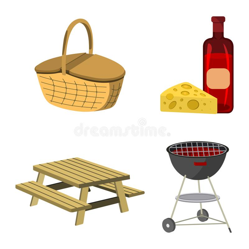 Set of Picnic icon. BBQ label on white Background. Cartoon styl. E. Vector Illustration stock illustration