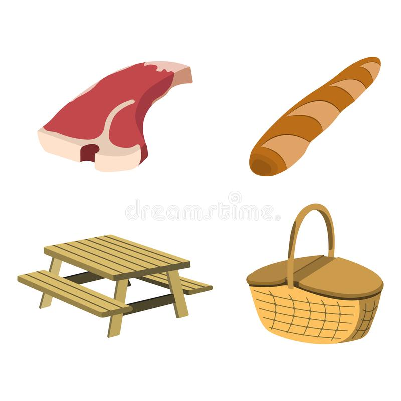 Set of Picnic icon. BBQ label on white Background. Cartoon styl. E. Vector Illustration royalty free illustration