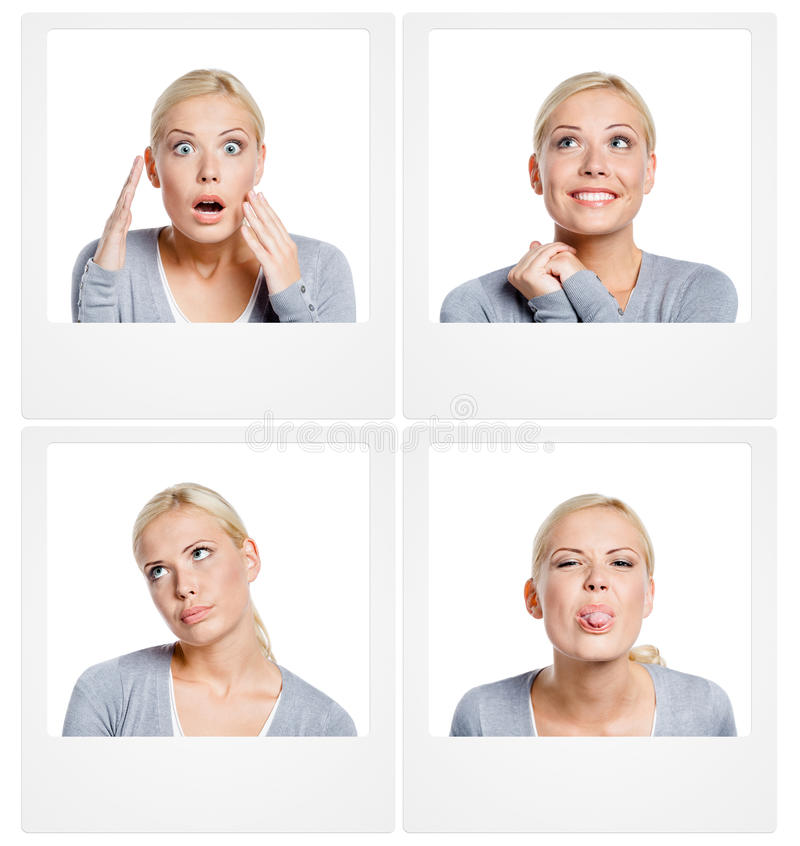 Set of pics of woman showing different emotions. Set of pictures of woman showing different emotions, isolated on white, copyspace stock image
