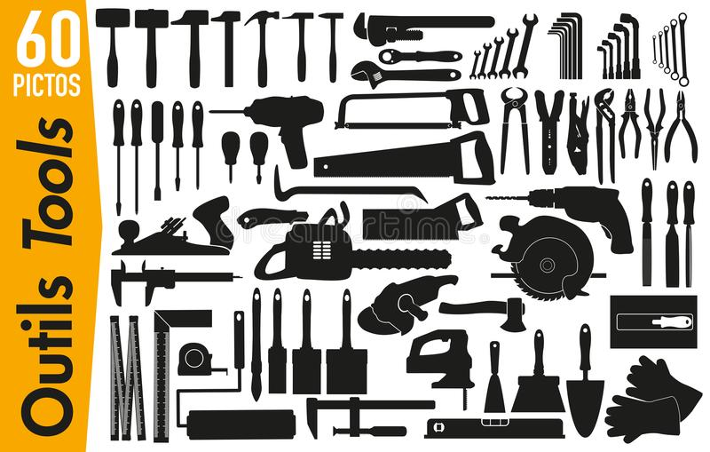 60 signage pictograms on DIY and decoration tools. Set of pictogram to illustrate the theme of DIY tools, grouping on a board, signage for advertising and vector illustration