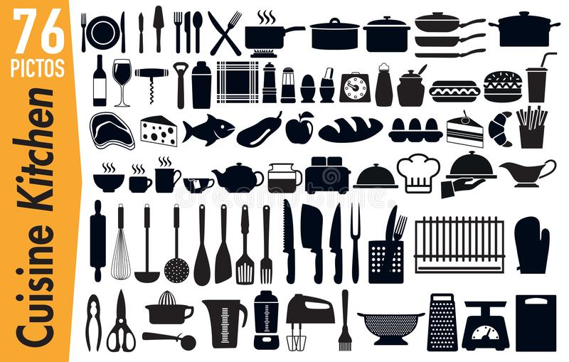 76 signage pictograms on kitchen utensils insects. Set of pictogram to illustrate the theme of kitchen utensils, grouping on a board, signage for advertising and vector illustration