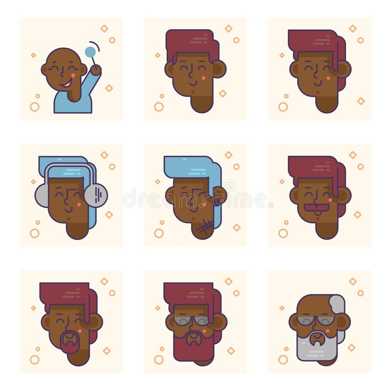 Set of pictograms with a african american person of different ages. From baby boy to adult man vector concept. Colorful illustration vector illustration