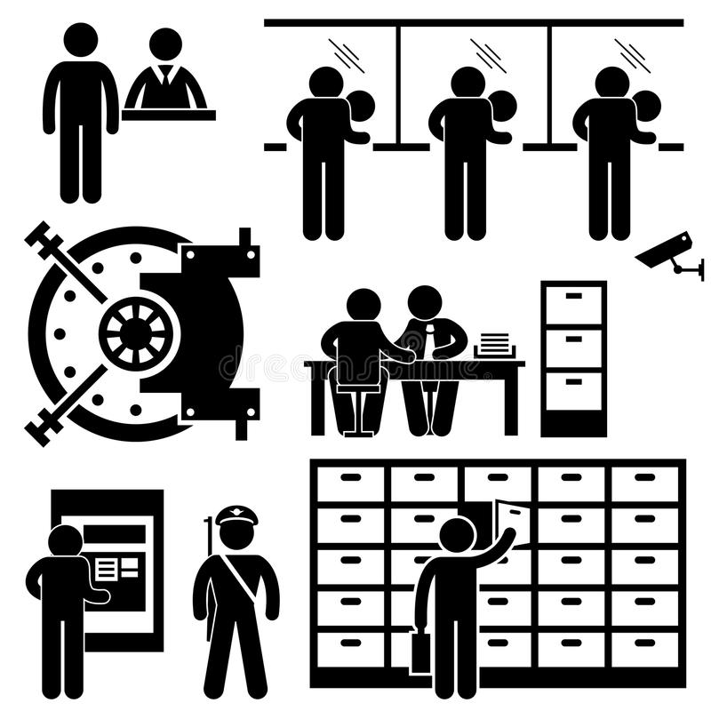 Bank Business Finance Worker Pictogram. A set of pictograms representing banking business, the securities, workers, and its client