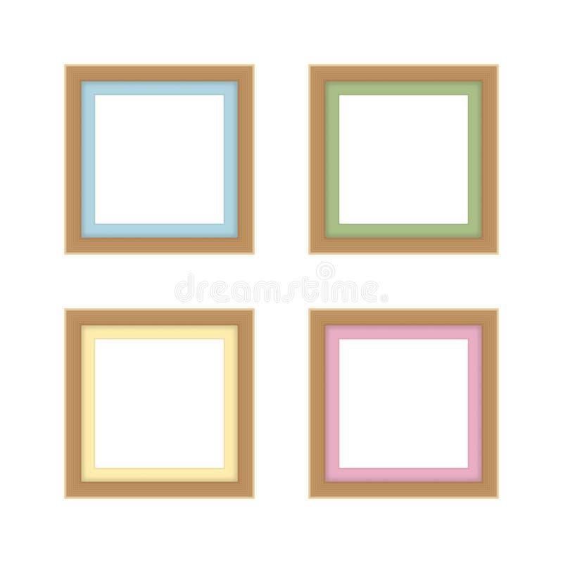 Set of picture frames brown color, vintage frame image cute, frames picture chic luxury on white background. Set of the picture frames brown color, vintage frame vector illustration