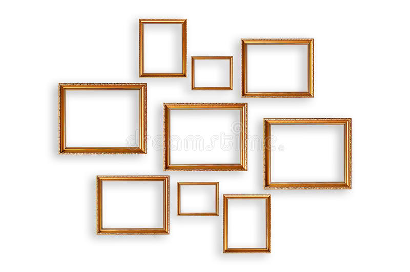 Set of picture frames on white background stock photos