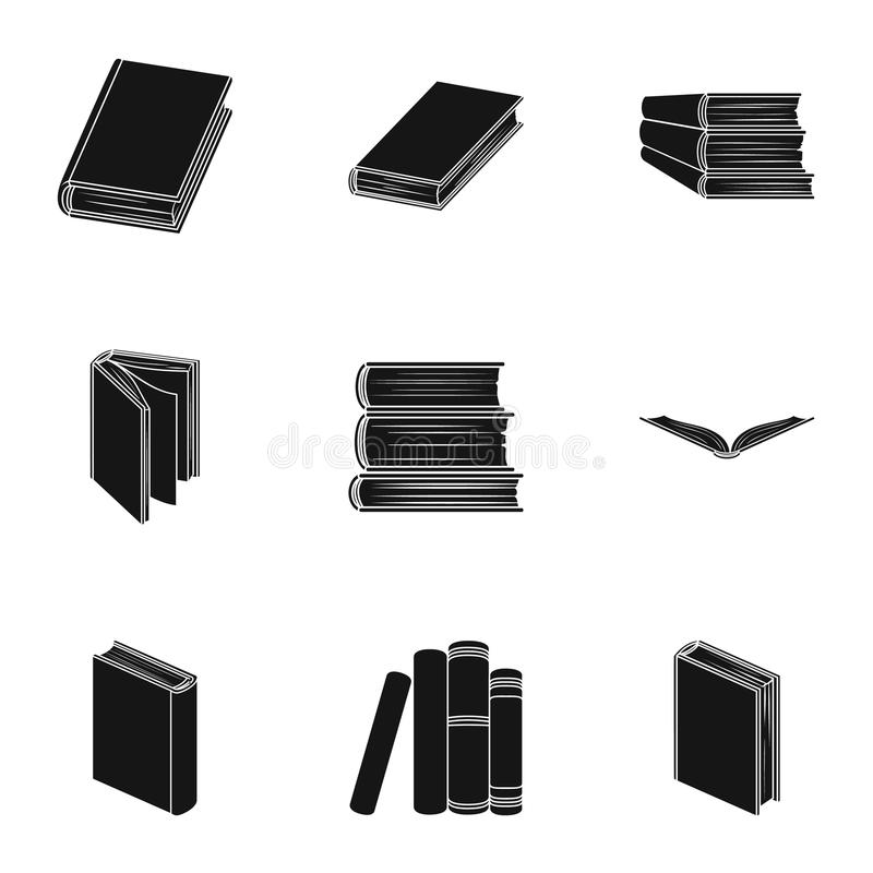 A set of pictures with books. Books, notebooks, studies. Books icon in set collection on black style vector symbol stock. Web illustration royalty free illustration