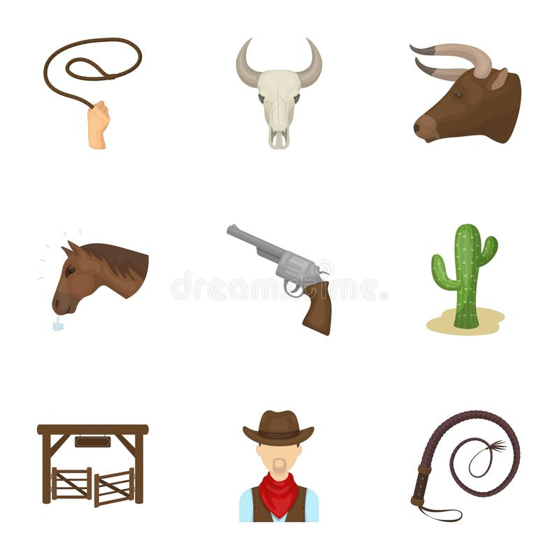 Download A Set Of Pictures About Cowboys. Cowboys On The Ranch, Horses, Weapons, Whips.Rodeo Icon In Set Collection On Cartoon Stock Vector - Illustration of whips, sign: 90748752