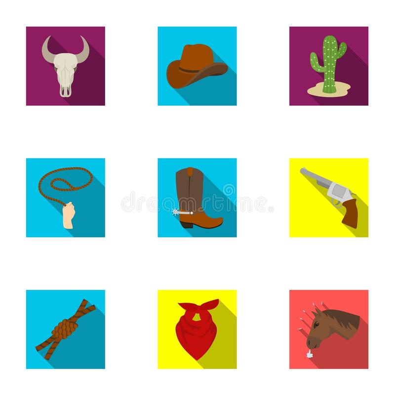 Download A Set Of Pictures About Cowboys. Cowboys On The Ranch, Horses, Weapons, Whips.Rodeo Icon In Set Collection On Flat Style Stock Vector - Illustration of ranch, boots: 90749088