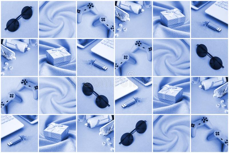 A set of pictures with fashionable youth objects on a soft fleece surface. Trendy phantom classic blue colors.  stock images