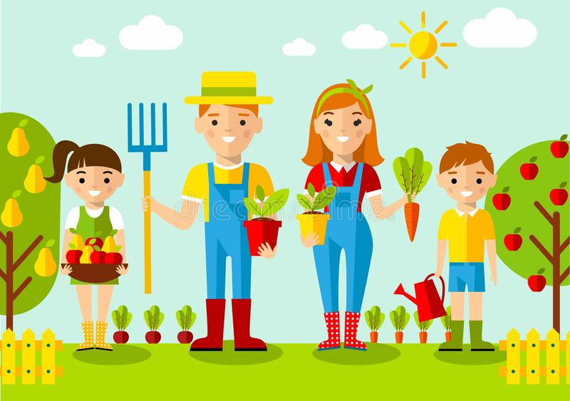 Set of pictures gardener family, garden, mill and landscape with gardening concept vector illustration