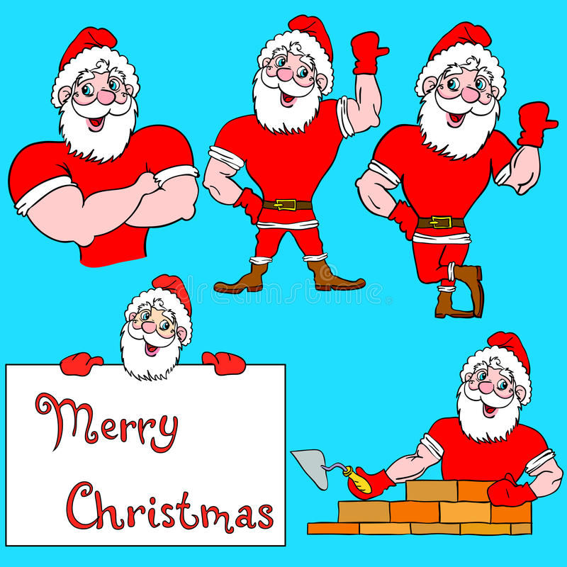 Set of pictures muscular Santa Claus. A set of pictures muscular Santa Claus royalty free illustration