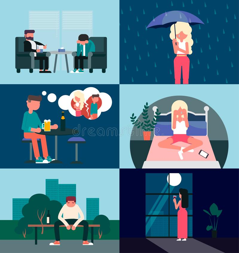 A set of pictures on the theme of the loss of a loved one. Parting. Parting stock illustration