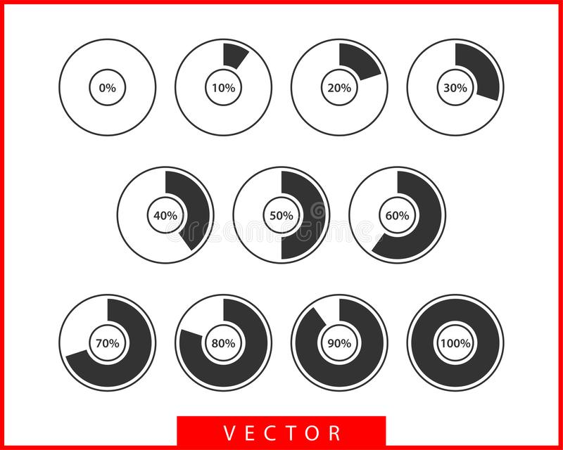 Set pie chart icons. Circle diagram vector. Collection Charts graphs logo template. Flat design.  vector illustration