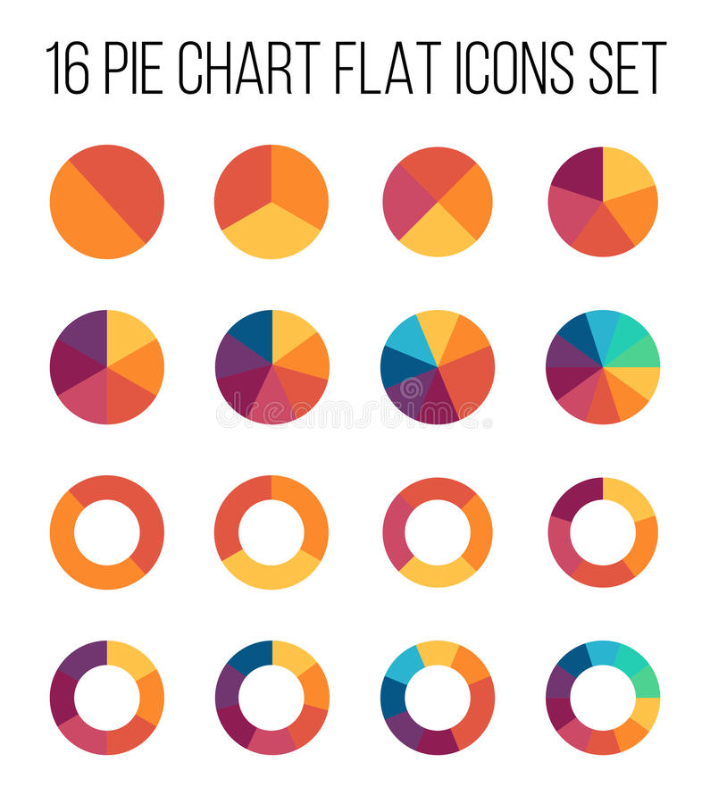Set of pie chart icons in modern thin flat style. royalty free illustration