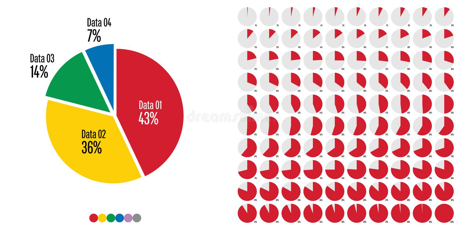 Set of pie chart in percentage from 1 to 100. For web design, user interface UI or infographic - red, yellow, green, blue, purple and gray vector illustration