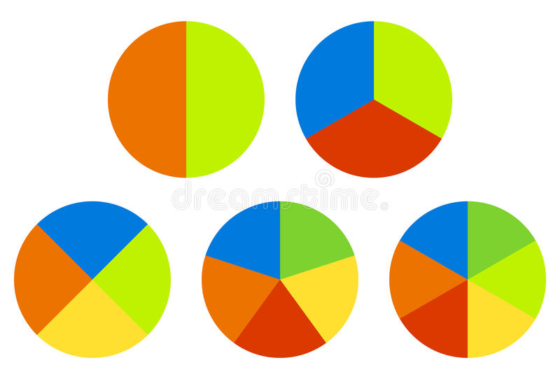 Set pie charts, graphs in 2,3,4,5,6 segments. Segmented circles. Colorful icons. - Royalty free vector illustration royalty free illustration