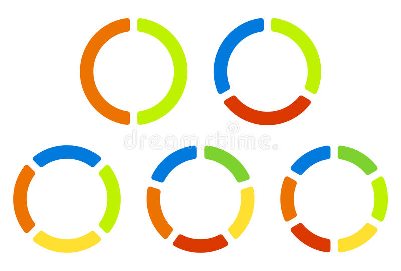 Set pie charts, graphs in 2,3,4,5,6 segments. Segmented circles. Colorful icons. - Royalty free vector illustration stock illustration