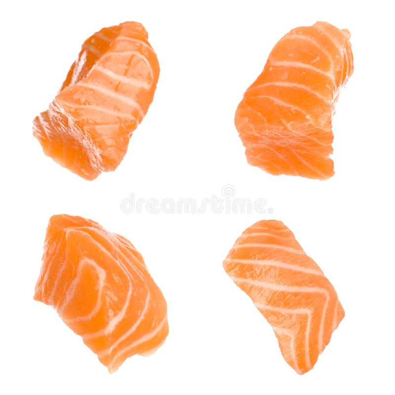 Set with pieces of fresh raw salmon on background. Fish delicacy. Set with pieces of fresh raw salmon on white background. Fish delicacy stock image