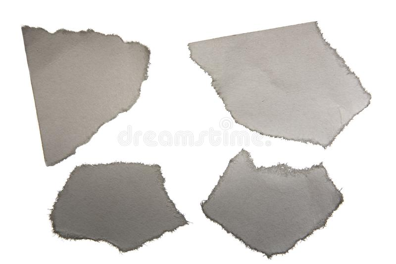 Set of pieces of torn paper macro is isolated on white background royalty free illustration