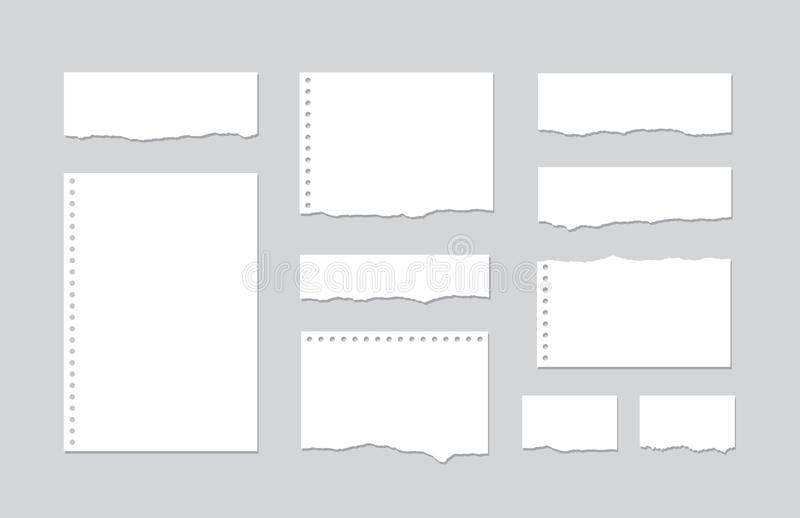 Set pieces of torn white lined notebook paper on gray background. Paper different shapes scraps - stock vector stock illustration