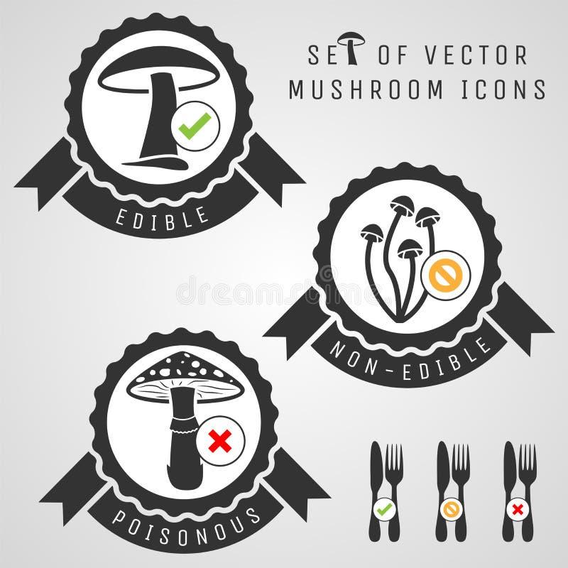 Set pieczarkowe ikony ilustracji