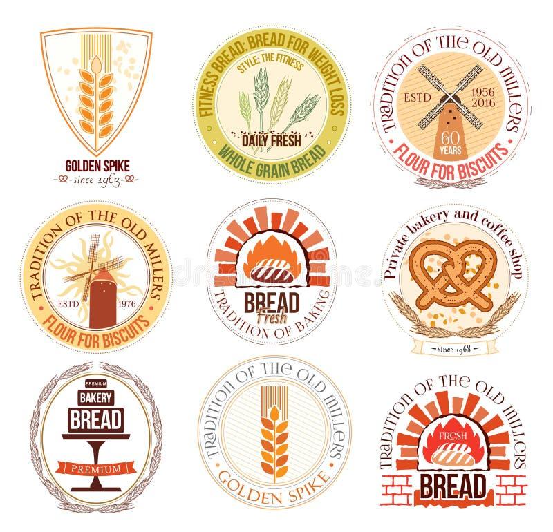 Set piekarni i banatki logo, etykietki i projektów elementy ilustracja wektor