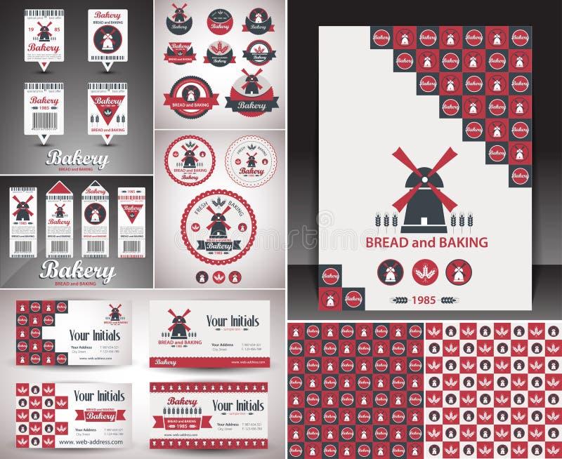 Set piekarnia przedmioty, rocznik retro odznaki i etykietki, royalty ilustracja