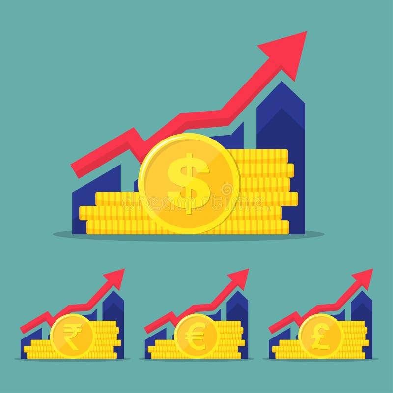 Set pieniężny występ, statystyki raport, podnosi biznesową produktywność, fundusz powierniczy royalty ilustracja