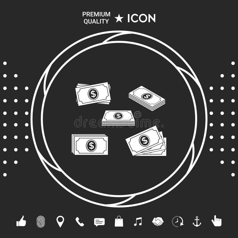 Set pieniędzy banknotów sterty ikona Graficzni elementy dla twój designt royalty ilustracja