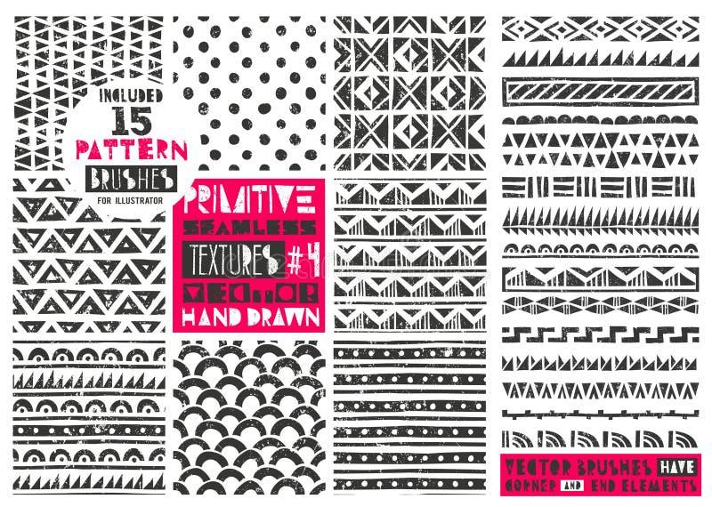 Set 8 pierwotnych geometrycznych wzorów inkasowych Plemienni bezszwowi tła Nowożytni modni druki również zwrócić corel ilustracji royalty ilustracja