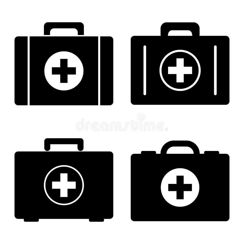 Set pierwsza pomoc zestawy czarny zmiany ikony wątrobowy medyczny ochrony po prostu biel również zwrócić corel ilustracji wektora royalty ilustracja