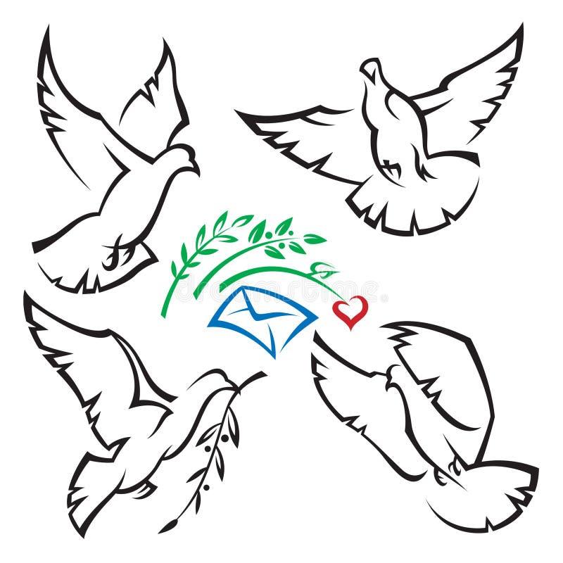 Set of pigeons stock illustration