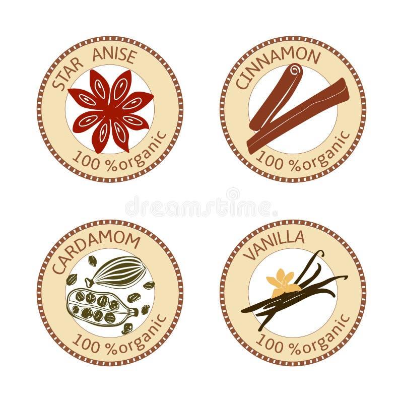 Set pikantność etykietki 100 organicznie Kolekcja ilustracja wektor