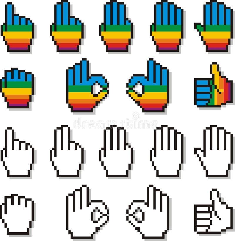 Set piksel ręki kursory w tęcza koloru wzorze Dwa royalty ilustracja